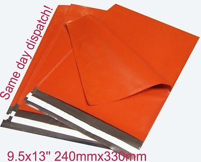 15 neon Orange Plastic Mailing Poly Postal A4 Post Bags 9.5 x 13 10x14 10 x 14