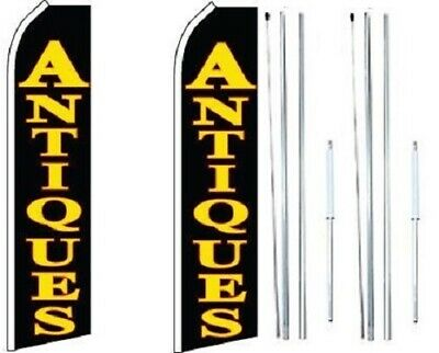 Antiques Swooper Flag With Complete Hybrid Pole Set-pack Of 2