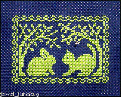 Spring Bunny - 10%Off Handblessings X-stitch chart - Spring Silhouette - Bunny Meets a Kitty