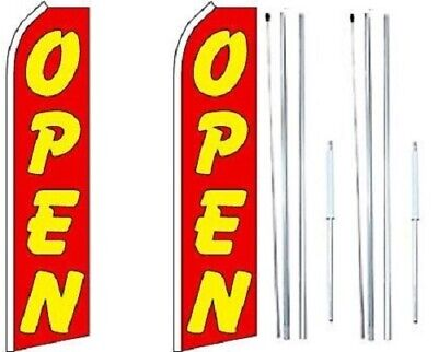 Open Red Swooper Flag With Complete Hybrid Pole Set - Pack Of 2