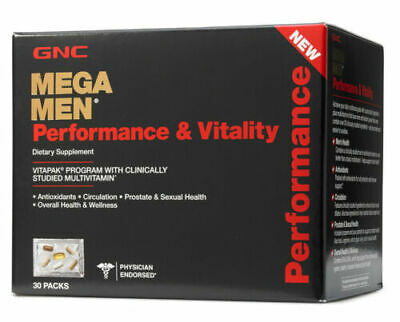GNC Mega Men Performance & Vitality Vitapak 30 PACKS! FAST FREE SHIPPING! ENERGY