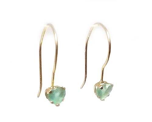 Gold Earrings Emerald 19thC Antique - Gem of Renaissance Europe Astrologers 10kt