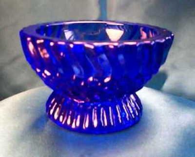 Stunning Cobalt Blue Glass Master Salt Dish Dip -Tea Candle Holder Jersey Swirl