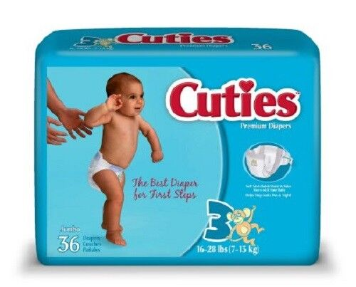 Cuties CR3001 Size 3 Baby Diapers 144/Case by First Quality