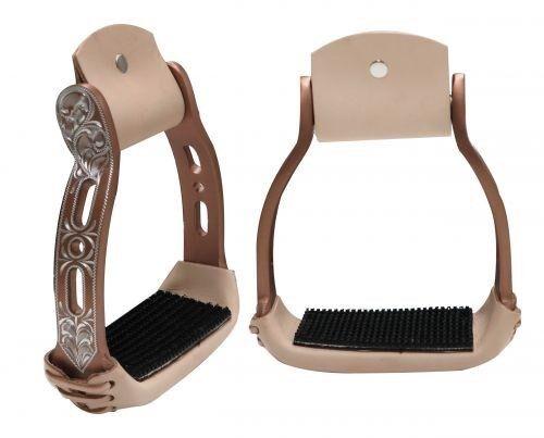 Showman Light Weight Copper Aluminum Stirrups w/ Engraved & Cut Out Design! NEW!
