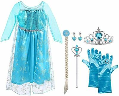 Vicloon ELSA Prinzessin Kostüm Kinder (A-9pcs (3-4 Jahre, 120 Cm, Blau))