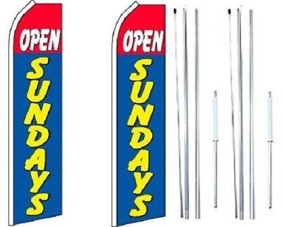 Open Sundays Red Blue Swooper Flag With Complete Hybrid Pole Set - Pack Of 2