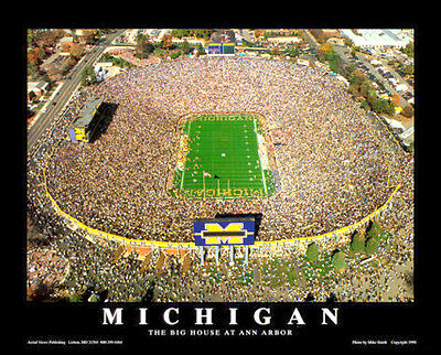 U. Michigan Football Stadium THE BIG HOUSE AT ANN ARBOR Aerial View POSTER Print