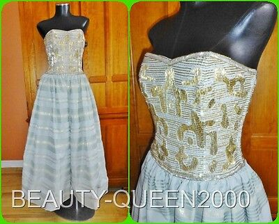 Designer Vtg 70s Glass Beads Embroidery corset Royal Wedding Maxi DRESS GOWN