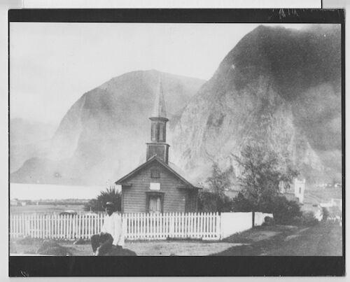 "SILOAMA CONGREGATIONAL CHURCH KALAUPAPA MOLOKAI HAND PRINTED PHOTO ON 8x10"" MAT"