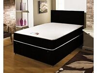 ***New***Crush Velvet Double Bed with Memory Foam Mattress & Headboard (07440 332255)