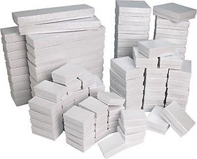 White Swirl Cotton Filled Gift Boxes Jewelry Cardboard Box Lots of (Filled Box)
