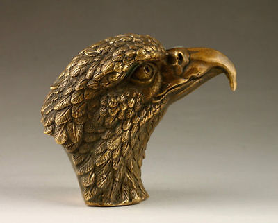 antique excellent china old bronze carved unique Vivid Eagle Head statue