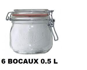 lot 6 bocaux le parfait taille 0 5 litre 85 mm bocal en verre ebay. Black Bedroom Furniture Sets. Home Design Ideas