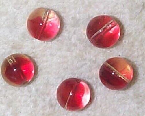 Vintage pale rose red to clear givre Japanese 9MM glass beads - 16 PCS