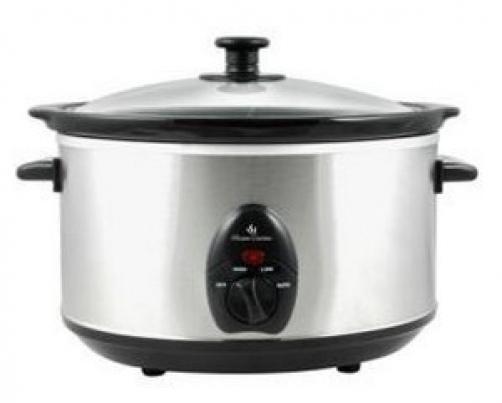 Lloytron E818 3.5L Electric Food Slow Cooker Ceramic Crock Pot Brushed Steel New