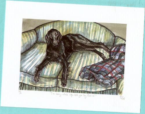 Flat Coated Retriever Limited Ed Art Print UK Artist Elle Wilson Whose Sofa*