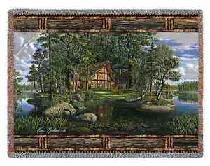 COUNTRY LODGE LOG CABIN FREEDOMS PROMISE TAPESTRY THROW AFGHAN BLANKET