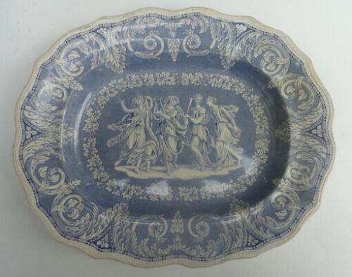 Elkin Knight & Bridgwood ETRUSCAN Platter Blue White Staffordshire Transferware