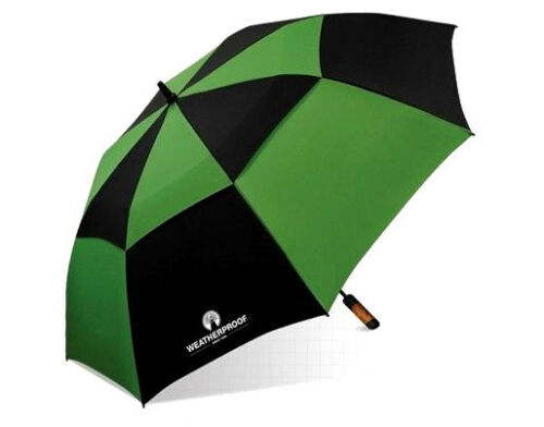 "WeatherProof 60"" Double Canopy Fiberglass Auto Jumbo Folding Golf Umbrella"