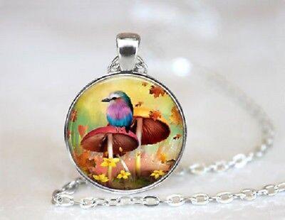 "Silver 20"" Necklace Women men Pendant MUSHROOM BIRD FLOWER MOM  Free $10 GIFT"