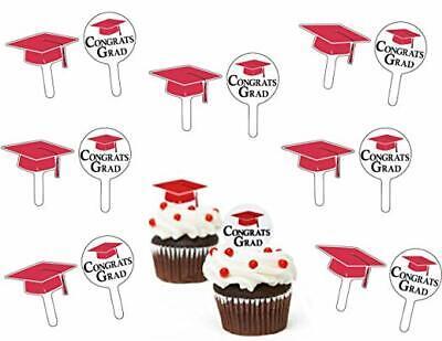 GRADUATION RED CUPCAKE PICKS Congrats Grad Party Decorations Cap Hat Topper Food Hat Cupcake Picks