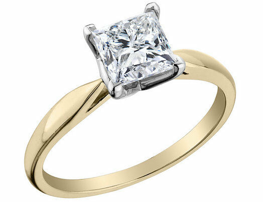 2 Ct Princess Solitaire Engagement Wedding Promise Ring Real 18k Yellow Gold