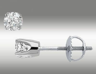 $40.00 - .20 CT Round Cut Stud Earrings Brilliant Cut with Screw back 14K White Gold 3mm