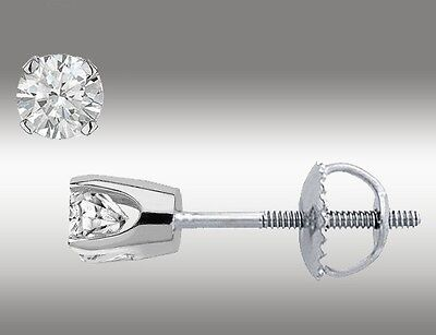 .20 Ct Solitaire Stud Earrings Round Cut 14K White Gold Screw Back pierced