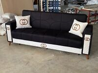 SAME DAY & NEXT DAY DELIVERY AVAILABLE ON 3 SEATER GUCCI SOFA BED WITH STORAGE INSIDE
