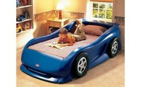 Little tikes car bed, blue, full size single not toddler