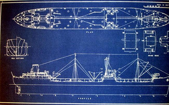 Vintage T2 Tanker Ship USN and MSTS 1944 Blueprint Plans 11x22  (156)