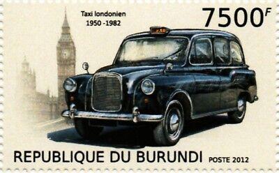 AUSTIN FX4 London Hackney Taxi Cab Car Stamp (2012 Burundi), used for sale  Pontypridd