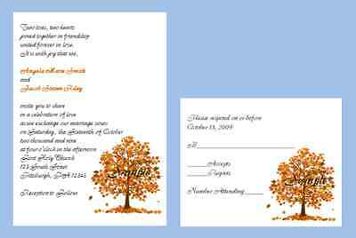 100 Personalized Custom Fall Autumn Leaves Tree Bridal Wedding Invitations Set