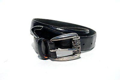 BRIGHTON......Vintage 90's Black Leather Belt W/Silver Metal Scrolled Buckle M
