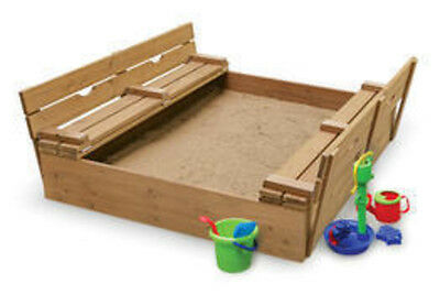 Badger Basket Large Covered Convertible Cedar Sandbox W 2 Benches Seats 09988