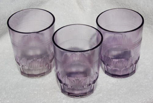 Set of 3 Sun Colored Purple SCA ornate ANTIQUE cut-glass DRINKING water GLASSES
