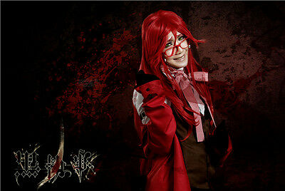 Anime Black Butler Grell Sutcliff Cosplay Costume Full Set Free - Grell Cosplay Kostüm