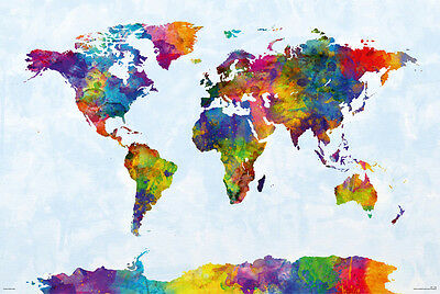 Watercolor Map Of The World (MAP OF THE WORLD - WATERCOLOR ART POSTER / PRINT (INCLUDING)