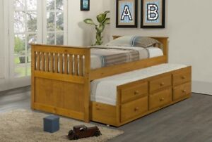 Captains Bed with Pull out Trundle Bed
