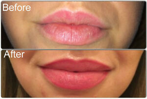permanent lip liner and lips color cosmetic tattoo