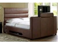 TV double bed. Brown faux leather with memory foam mattress