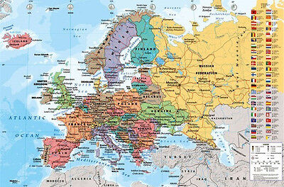 European Map Poster   24X36 Europe Countries Globe Nations Geography 33841