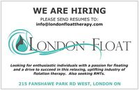 F/T and P/T front desk staff for LONDON FLOAT THERAPY