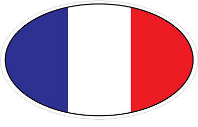 FRANCE / FRENCH FLAG IN AN OVAL VINYL STICKER - Car Bumper / Flag - 16 cm x 9 cm (French Flag Bumper Sticker)