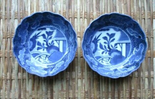 PAIR:  Blue & White Sometsuke Imari Porcelain Bowls; Japan C. 1860