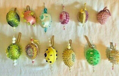 12 Vintage Easter Bunny Hanging Ornament Eggs Sequins Ornament Handmade