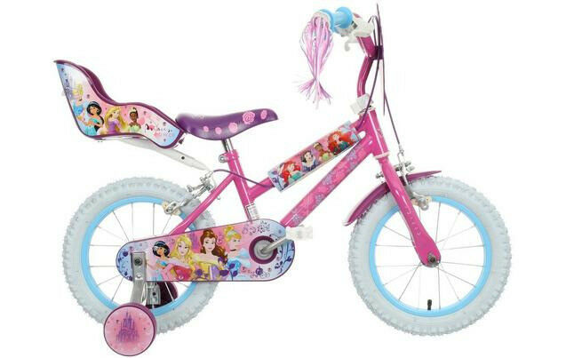 """Disney Princess 14"""" girls bike with basket, doll seat and stabilisers. One careful little girl owner"""