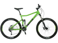 Full Suspension mountain bike, Calibre Bossnut, Boardman FS, Voodoo Zobop, Canyon Nerve etc.