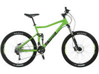 Full Suspension mountain bike, Calibre Bossnut, Whyte E120, Boardman, Voodoo Zobop, Canyon Nerve etc